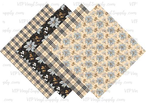 Elegant Poinsettia and Plaid Collection Pattern HTV Vinyl - Outdoor Adhesive Vinyl or Heat Transfer Vinyl -