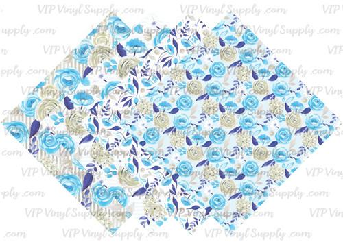 Light Blue Floral Collection Pattern HTV Vinyl - Outdoor Adhesive Vinyl or Heat Transfer Vinyl -