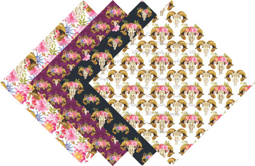Boho Skull Floral Collection Pattern HTV Vinyl - Outdoor Adhesive Vinyl or Heat Transfer Vinyl -