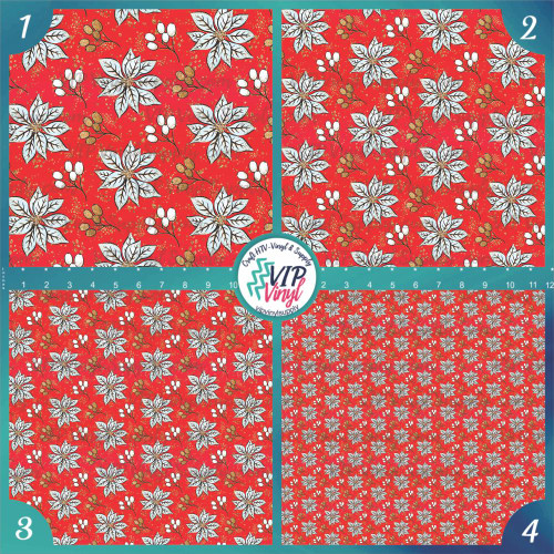 Red and Gold Poinsettia Holiday Pattern HTV Vinyl - Outdoor Adhesive Vinyl or Heat Transfer Vinyl - Elegant Poinsettia and Plaid Collection