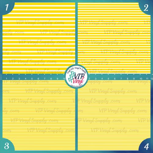 Bright Yellow & White Stripes Patterned HTV Vinyl - Outdoor Adhesive Vinyl or Heat Transfer Vinyl -