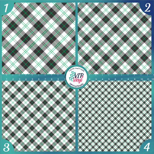 Black White & Green Plaid Pattern HTV Vinyl - Outdoor Adhesive Vinyl or Heat Transfer Vinyl -