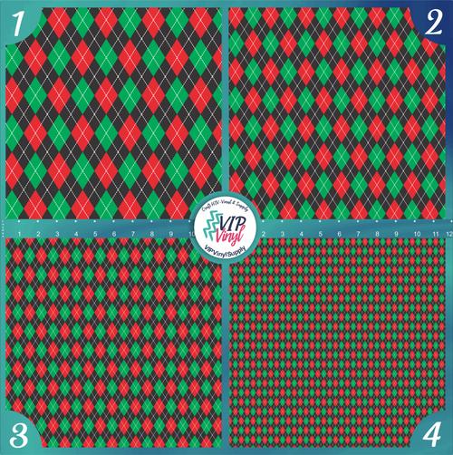 Christmas Argyle Pattern HTV Vinyl - Outdoor Adhesive Vinyl or Heat Transfer Vinyl -