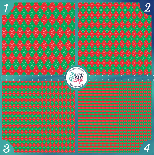 Red Green & White Argyle Pattern HTV Vinyl - Outdoor Adhesive Vinyl or Heat Transfer Vinyl -