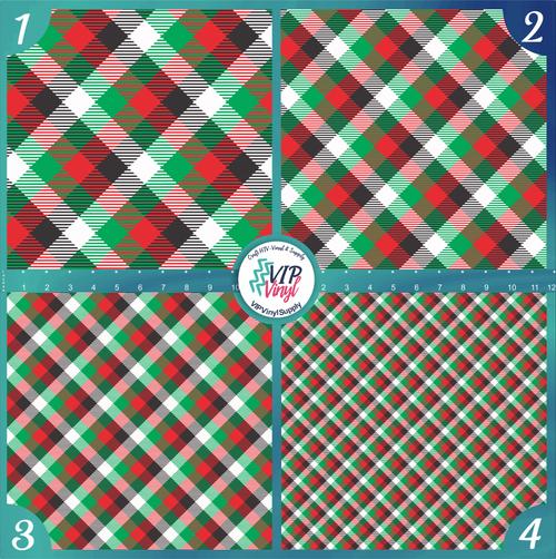 Green, Red, Black & White Plaid Pattern HTV Vinyl - Outdoor Adhesive Vinyl or Heat Transfer Vinyl -