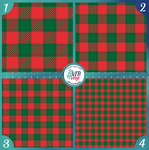 Red and Green Buffalo Check Plaid Pattern HTV Vinyl - Outdoor Adhesive Vinyl or Heat Transfer Vinyl -
