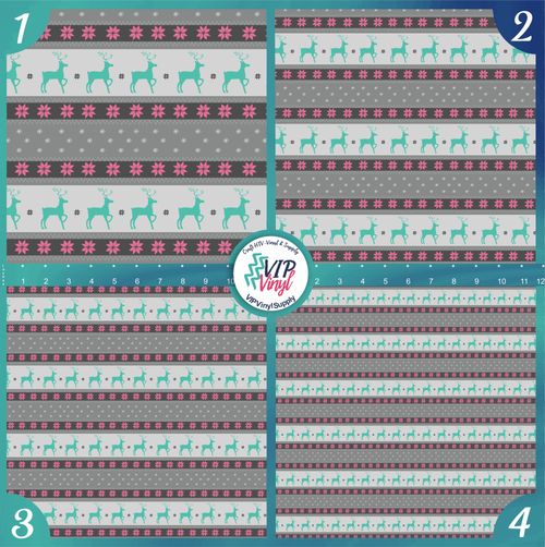 Christmas Sweater Reindeer Pattern HTV Vinyl - Outdoor Adhesive Vinyl or Heat Transfer Vinyl