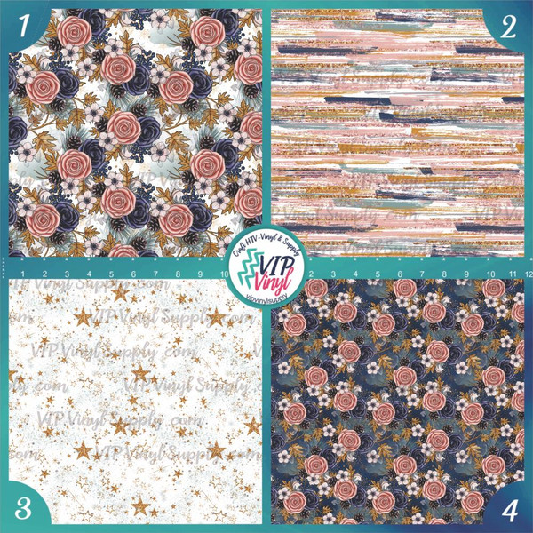 Winter Rose Collection Pattern HTV Vinyl - Outdoor Adhesive Vinyl or Heat Transfer Vinyl -