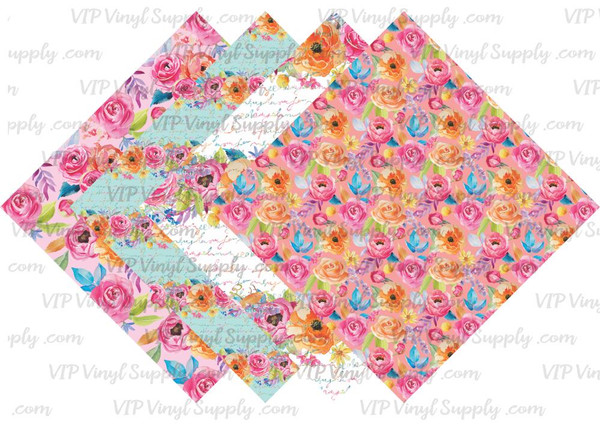 Floral Notes Collection Pattern HTV Vinyl - Outdoor Adhesive Vinyl or Heat Transfer Vinyl -