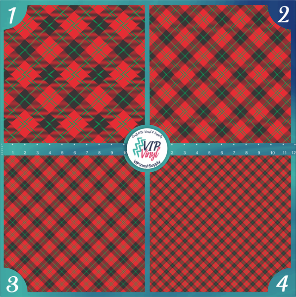 Green Red & Black Plaid Pattern HTV Vinyl - Outdoor Adhesive Vinyl or Heat Transfer Vinyl -