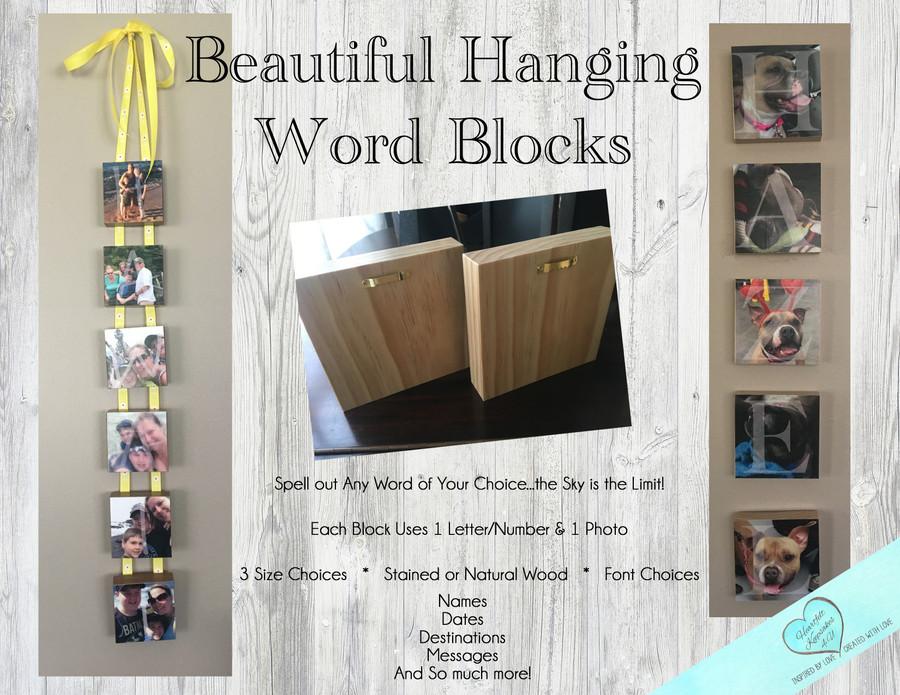 "2.5"" HANGING Blocks - Personalized Photo Blocks"
