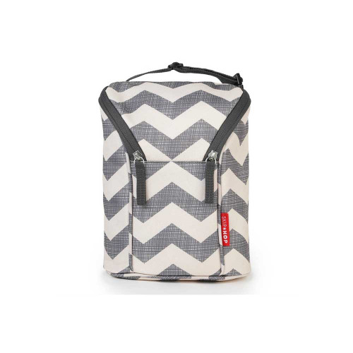 The Double bottle bag is insulated to keep two bottles or sippy cups cold for up to four hours. It also makes a great bag for baby's snacks!