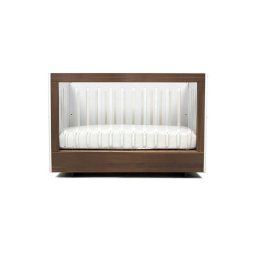 Spot On Square Roh Crib-White/Walnut - 1 Side Acrylic