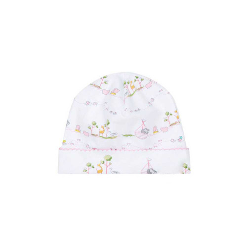Sweet Noah's Ark print on a baby girl's soft white hat. 100% Peruvian pima cotton. Kissy Kissy is not intended for sleepwear.