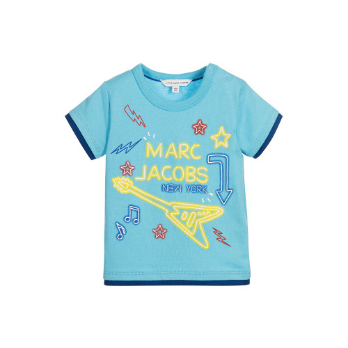 Baby boys blue t-shirt by Little Marc Jacobs, with a print of neon signs on the front, including the designer's logo and an electric guitar.
