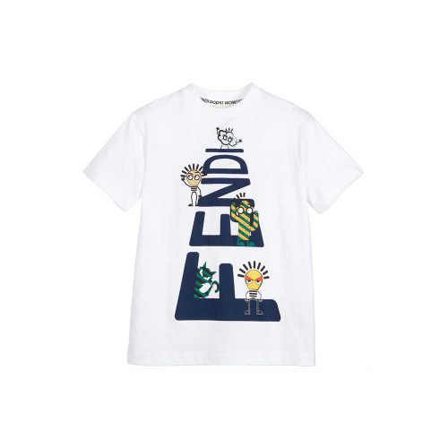 In true Fendi style, the large logo print includes lots of fun characters which boys will find amusing, lightbulbs, cactus, a cat and an emoji.