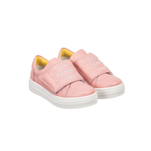 Gorgeous pink trainers, made in luxuriously soft nappa leather, with white Fendi text embroidery stitched on the velcro tongue fastening. They are fully lined in leather, with non-slip rubber soles for a sure grip.