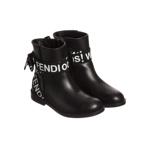 She will have a spring in her step in these black boots by Fendi. Beautifully crafted in supple Nappa leather, these boots have side zip fastening and stand-out ribbon embellishment, for a cool and contemporary twist.
