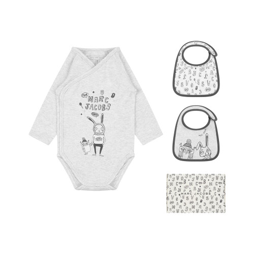 Little Marc Jacobs ivory bodysuit and two bib gift set, which comes in a branded box.