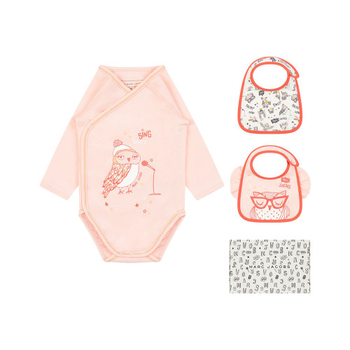 Baby girls pink Little Marc Jacobs bodysuit and two bib gift set, which comes in a branded box.