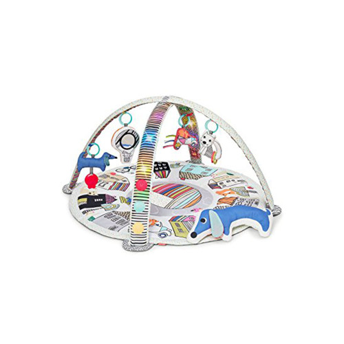 Our light up baby gym features black and white graphics with bold colors to stimulate baby's sight as he or she grows to view a rainbow of color