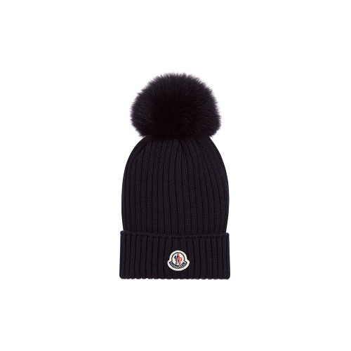 Moncler Knitted Hat with Pom-Pom Navy Small