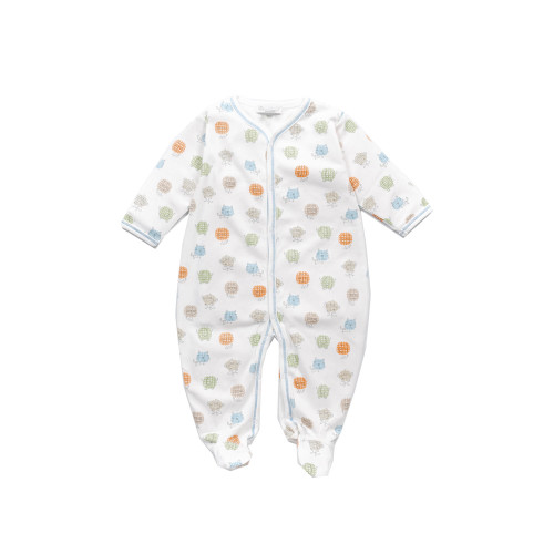 Footie by Kissy Kissy, made with super soft, ivory, pima cotton jersey.