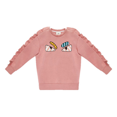 Sweatshirt in pink modal. Pattern multicolor monster eye motif on the front, pequin pink and fuchsia pattern on the back and shoulder ribs along the sleeves.
