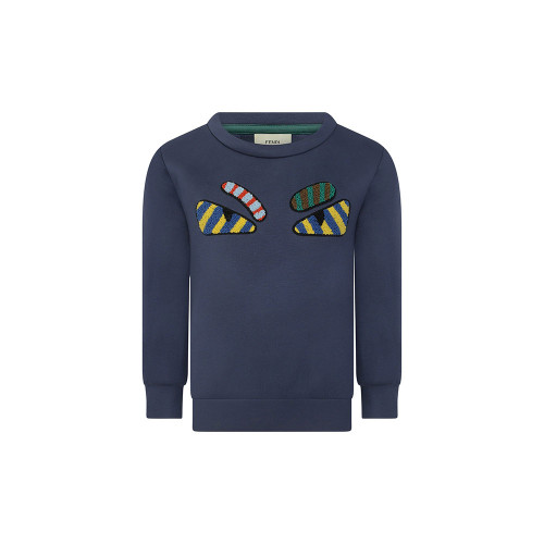 Fendi boys navy neoprene sweater with a round neckline, a striped monster eyes applique design to the front. To the reverse there is a green striped design.