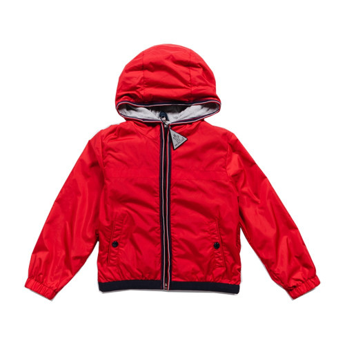 Moncler red Anton jacket with branded zip, hood and logo detailing at sleeve