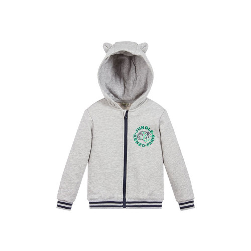 Designed for little boys, this grey zip-up top by Kenzo Kids has green Tiger & Friends logo prints. Made in soft and comfortable cotton jersey, it has striped ribbed trims and a hood with 'tiger ears' for added cuteness.