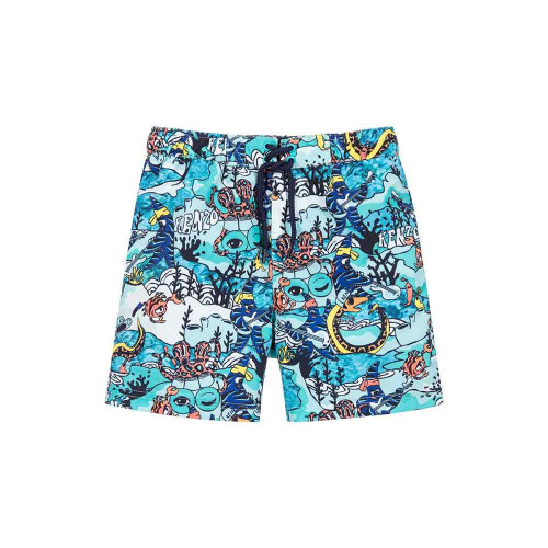Boys Limited Edition 'Under the Sea' swim shorts by Kenzo Kids. Lightweight with a mesh lining, they have an elasticated waist, with a drawstring cord.