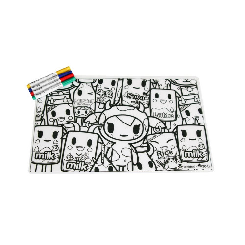 Fun meets function with our newest ZoLi x tokidoki collaboration! tokiMATTIES makes mealtime fun with new, iconic tokidoki characterprints on our favorite silicone placemats. Comes with washable markers so you can color and reuse time and time again. Check out our 2 other designs!
