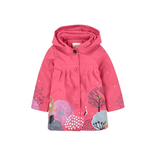 Waxed fabric, Fleece lining, Large hood, Long sleeves, Pleat detail on the front and in the back, Piped pockets, Zipper on the front, All-over print