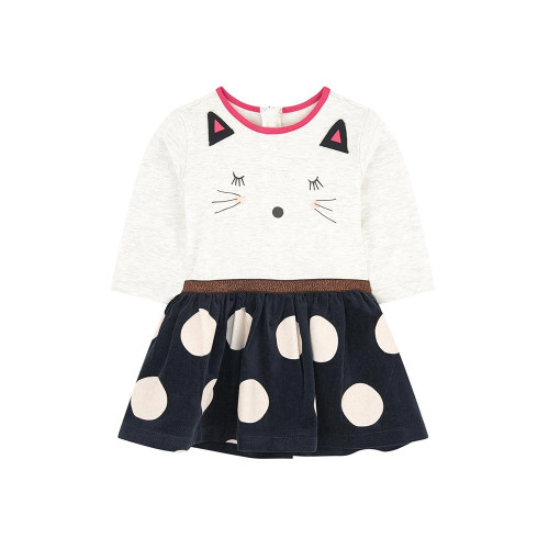 Long sleeved dress in marl jersey with maxi soft toy motif and charcoal grey velvet skirt printed with maxi white dots: a little graphic city look underlined by a girly sequinned belt.
