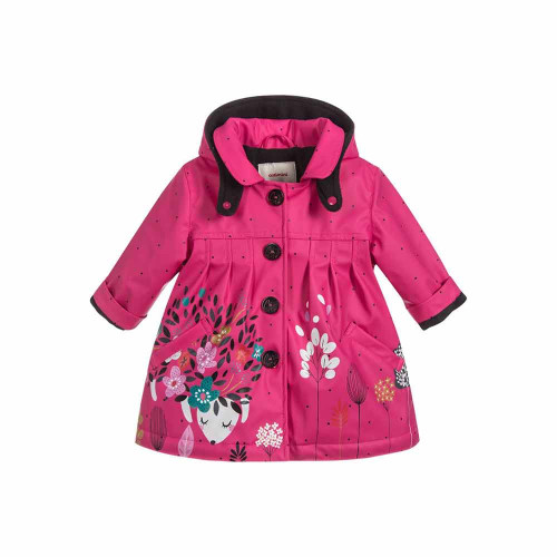 Practical and stylish pink raincoat by Catimini. Made in soft, waterproof PVC, with a warm fleecy lining. It has a cosy, detachable hood, and a sweet woodland themed print.