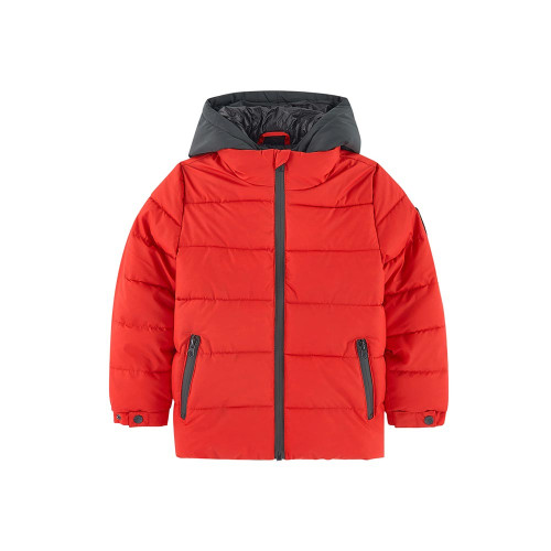 Jacket in coated and quilted fabric, with a contrasting inserted hoodie effect hood, to warm up boys' sporty looks.