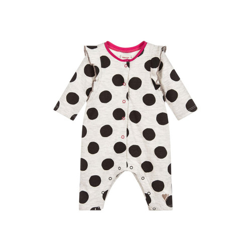 Baby girls grey and black dotted babygrow from Catimini, made in soft & stretchy cotton jersey. It has sweet ruffles the shoulders and fuchsia pink trim.