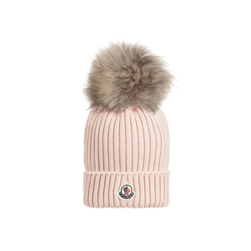Moncler Berretto Hat with Pom-Pom Pink