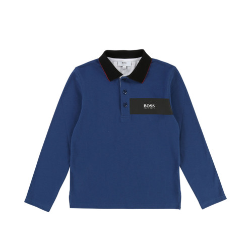 Long-sleeved cotton-spandex polo shirt with fancy collar, prints on the front and embossed ink back.
