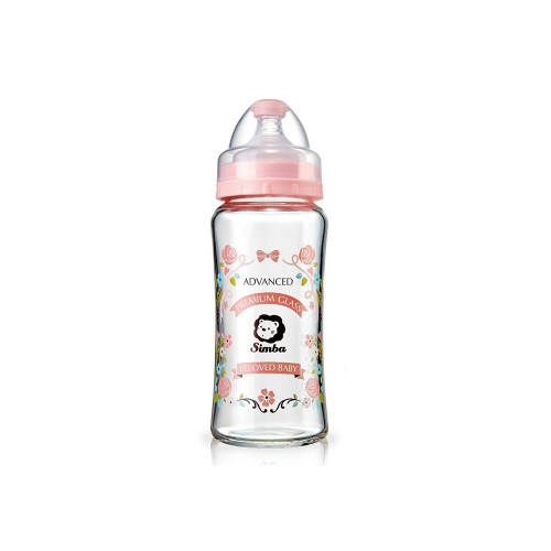 Simba Romance Wide Neck Glass Feeding Bottle 270ml Pink