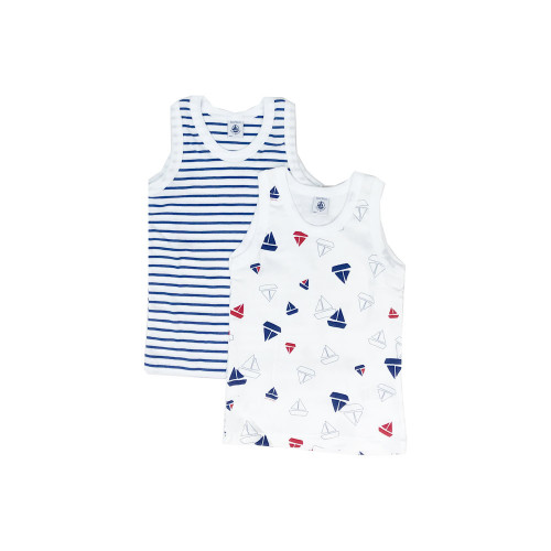 A set of two tank tops in an emblematic petit bateau rib knit. One with a flag print and one plain to wear with matching briefs or boxers.