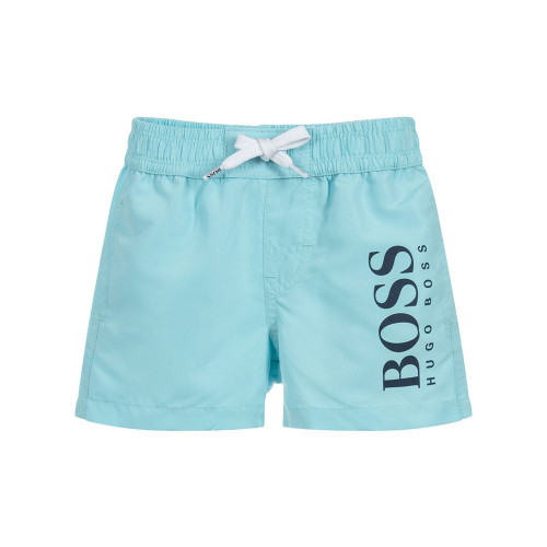 Kids' swim shorts by BOSS, designed in a surfer style. Engineered in quick-drying technical fabric, these sporty shorts feature a dynamic logo print at the left leg.