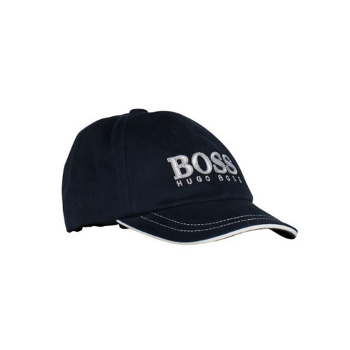 Little boys black cap by BOSS, with the designer's white and grey logo on the front. It has white piping around the peak and is elasticated on the back.