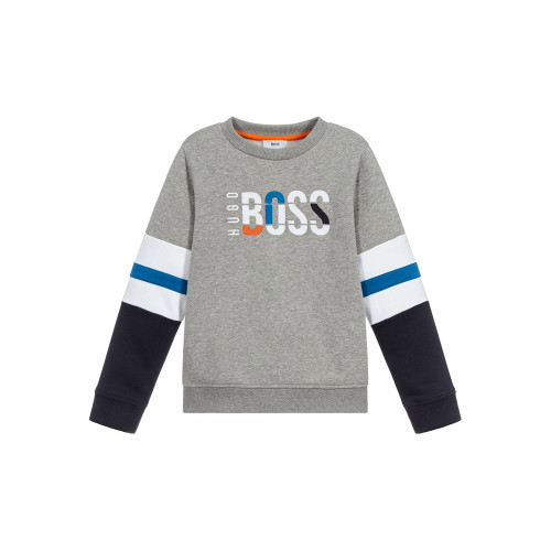 Navy blue, orange and ivory striped top for baby boys by BOSS. Made in soft cotton jersey, it has logo embroidery on the chest and popper fastenings on one shoulder.