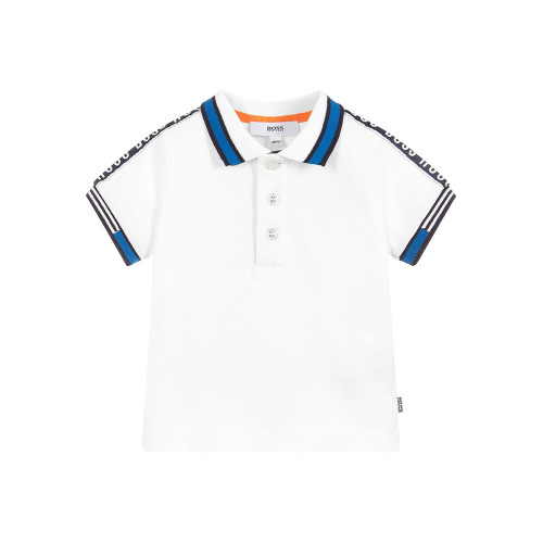 Every little boy needs a white, soft cotton jersey polo T-shirt by Hugo BOSS with a logo print. It is an essential in any boy's wardrobe.