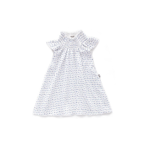 Oeuf Smock Neck Dress White and Numbers