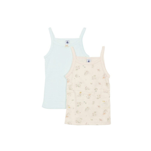 A set of two camis in an emblematic petit bateau rib knit.