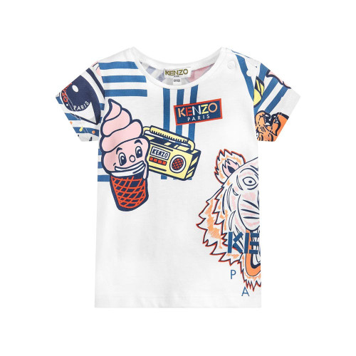 Baby girls white T-shirt from Kenzo Kids, made in soft and stretchy cotton jersey. It has a colourful tiger and multi-iconic print.