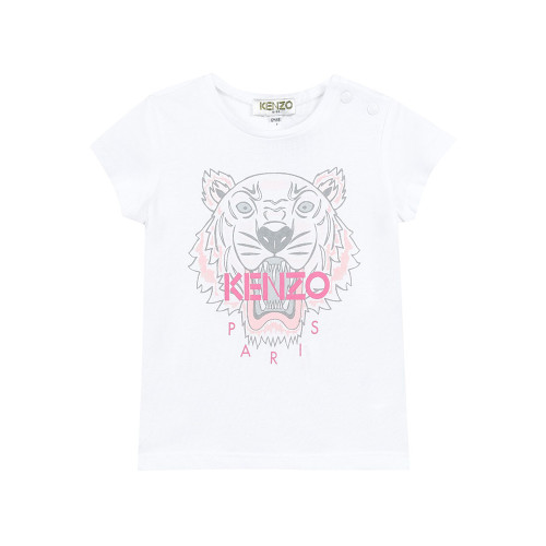 Baby girls white T-shirt by Kenzo Kids, made in lightweight cotton jersey with the iconic Mini-me tiger print in pink and grey.